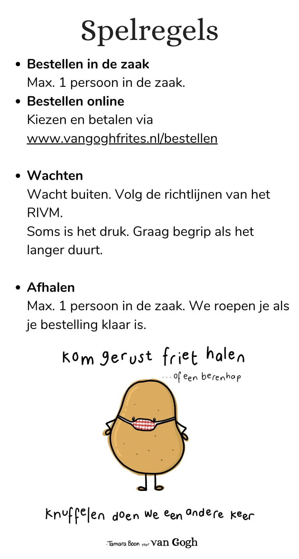 spelregels in de winkel van Vlaams friteshuis van Gogh tijdende Corona Covid crisis